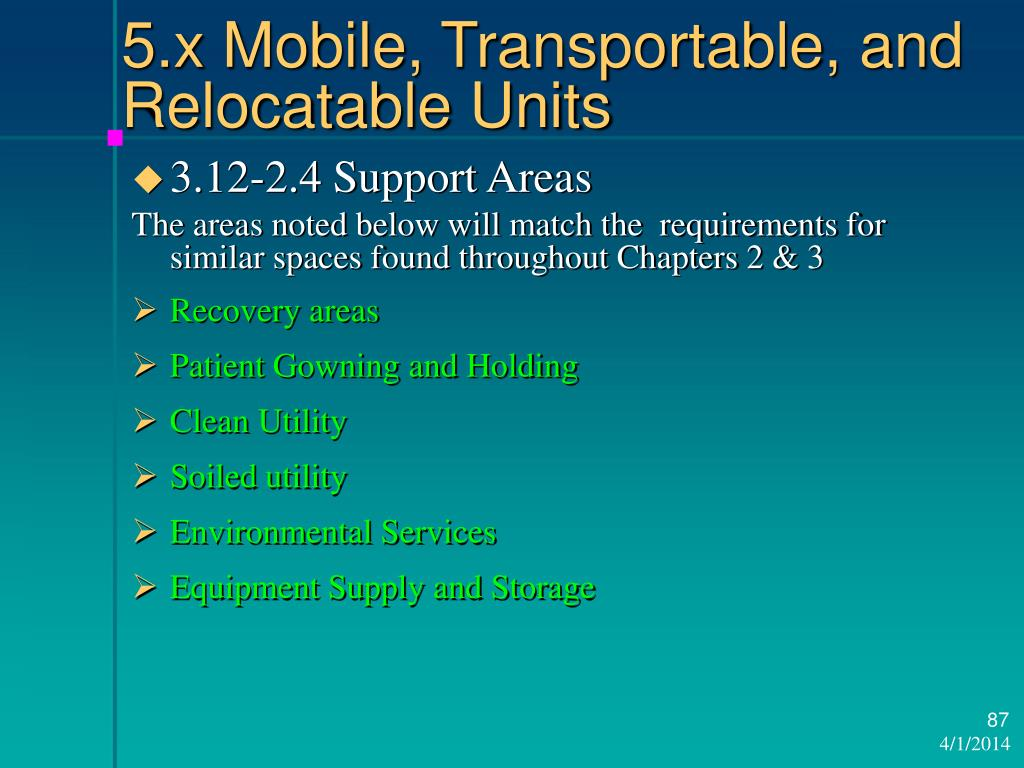 5.x Mobile, Transportable, and Relocatable Units