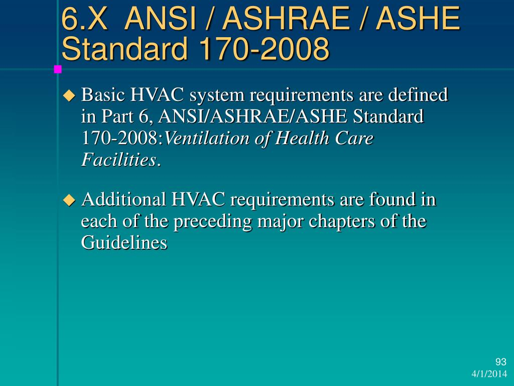 6.X  ANSI / ASHRAE / ASHE