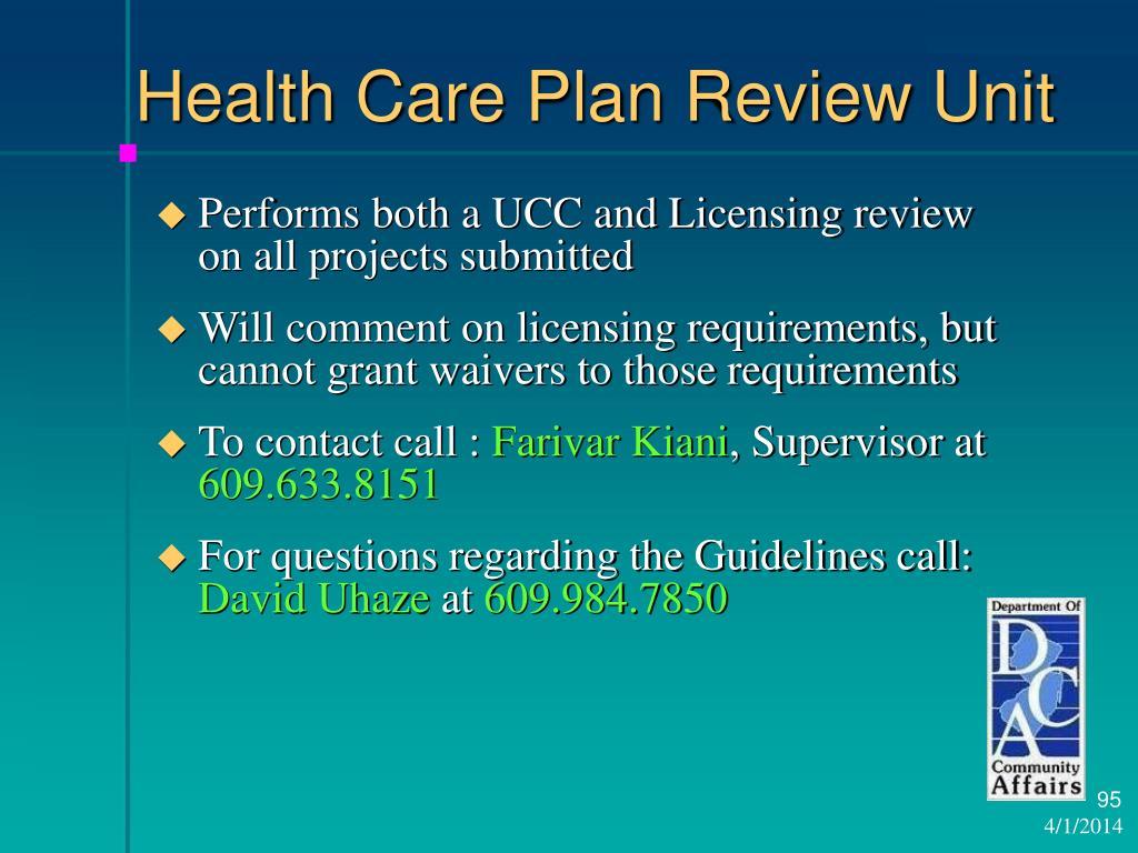 Health Care Plan Review Unit