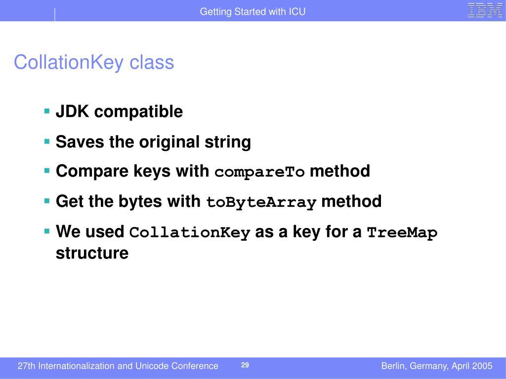 CollationKey class