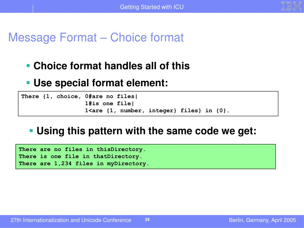 Message Format – Choice format