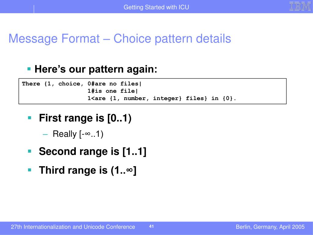Message Format – Choice pattern details