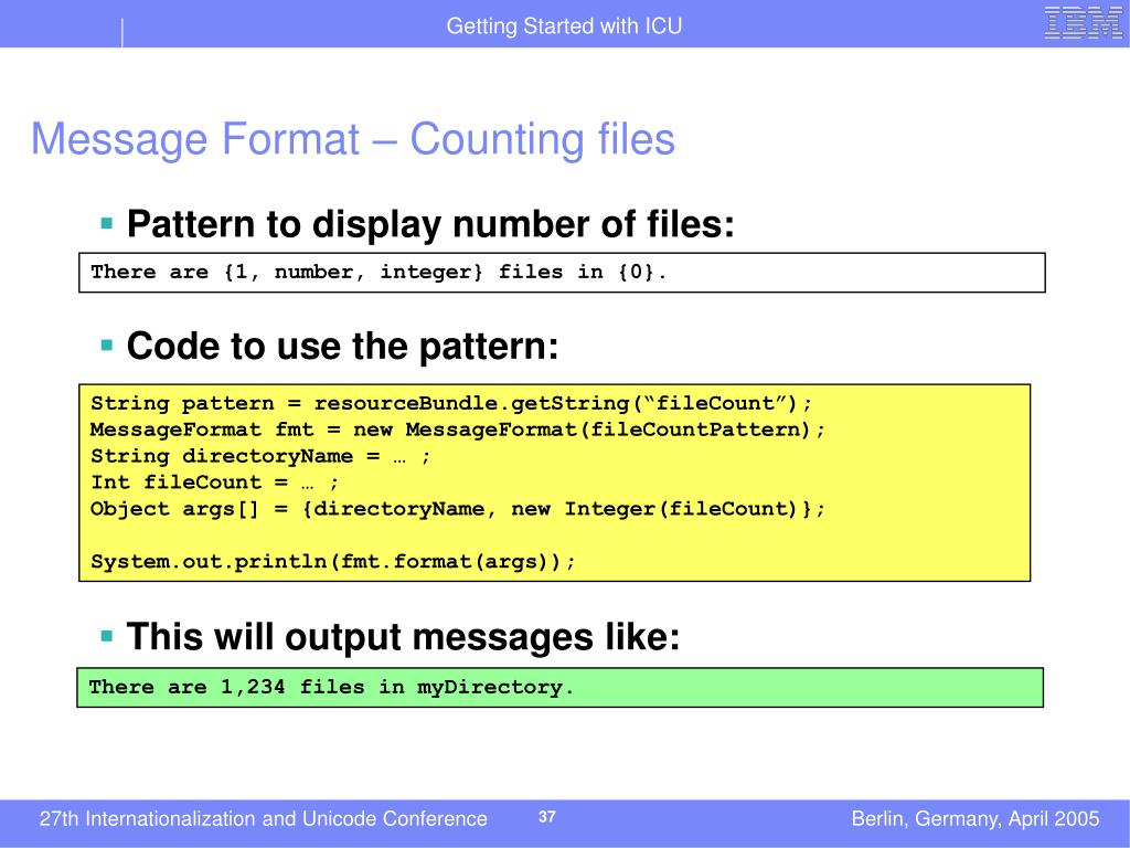 Message Format – Counting files