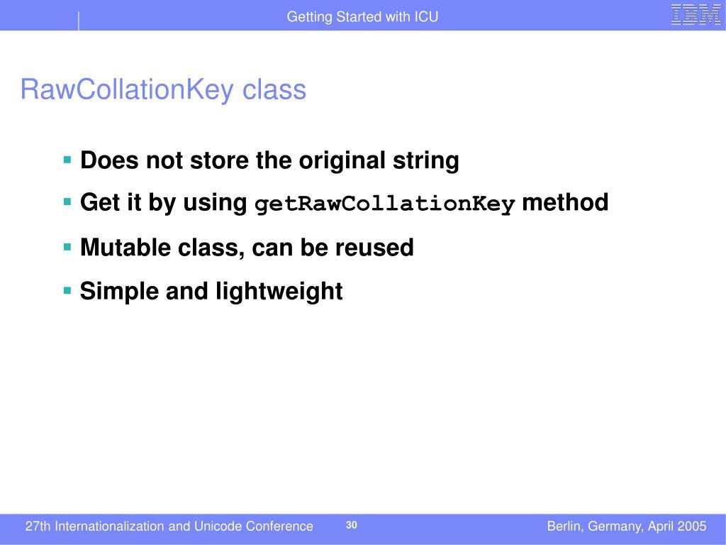 RawCollationKey class