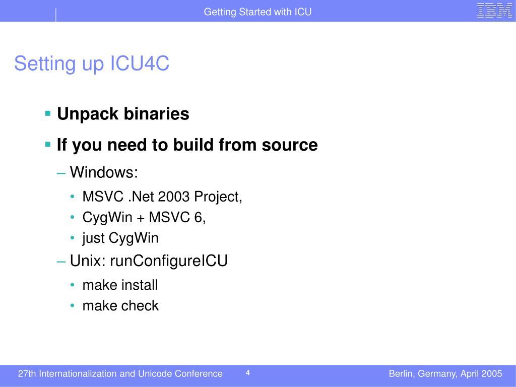 Setting up ICU4C