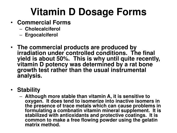 Vitamin D Dosage Forms