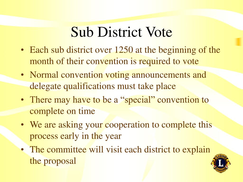 Sub District Vote