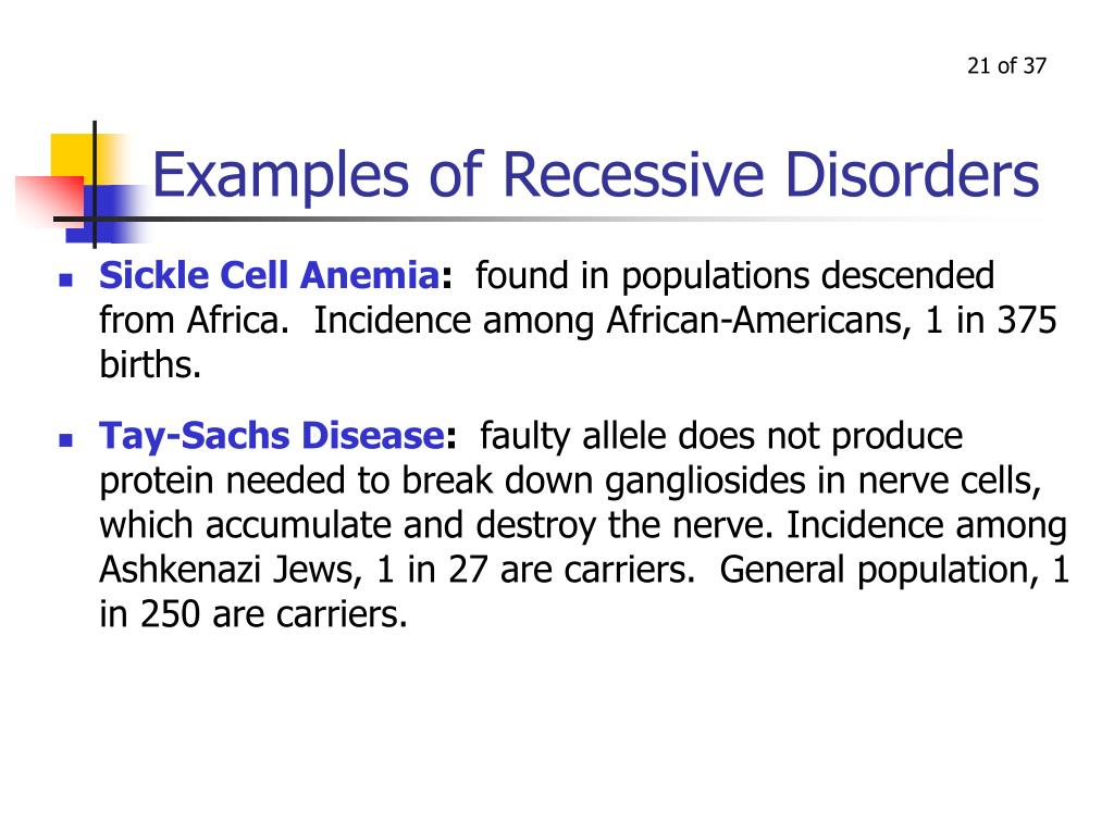 Examples of Recessive Disorders