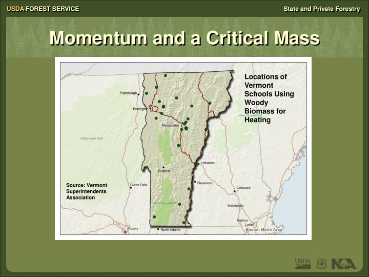 Locations of Vermont Schools Using Woody Biomass for Heating
