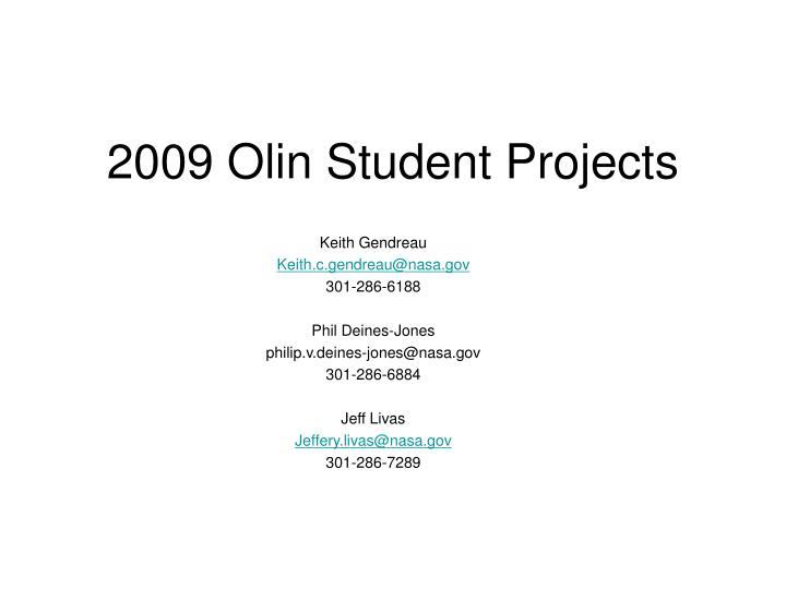 2009 olin student projects