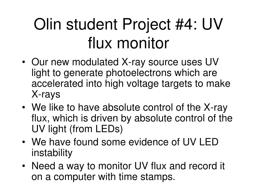 Olin student Project #4: UV flux monitor