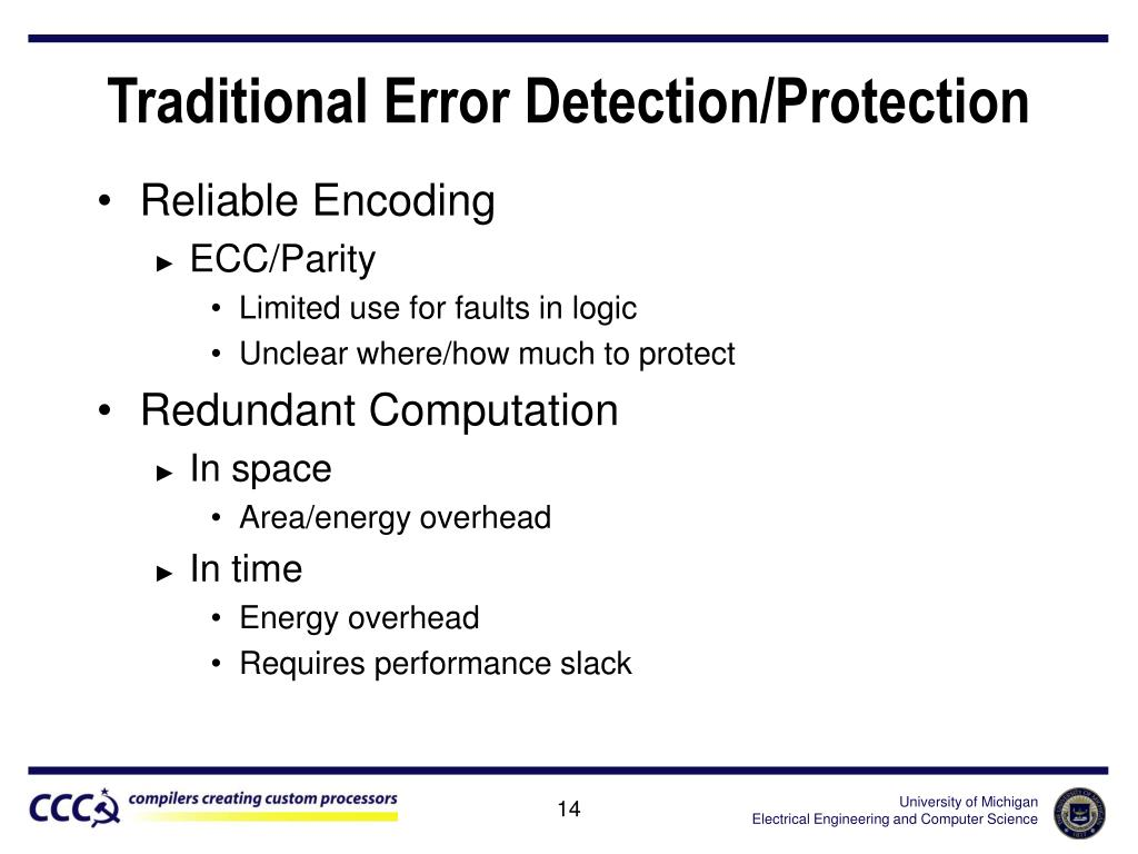 Traditional Error Detection/Protection