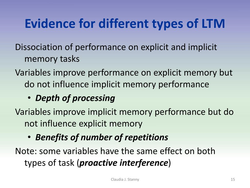 Evidence for different types of LTM