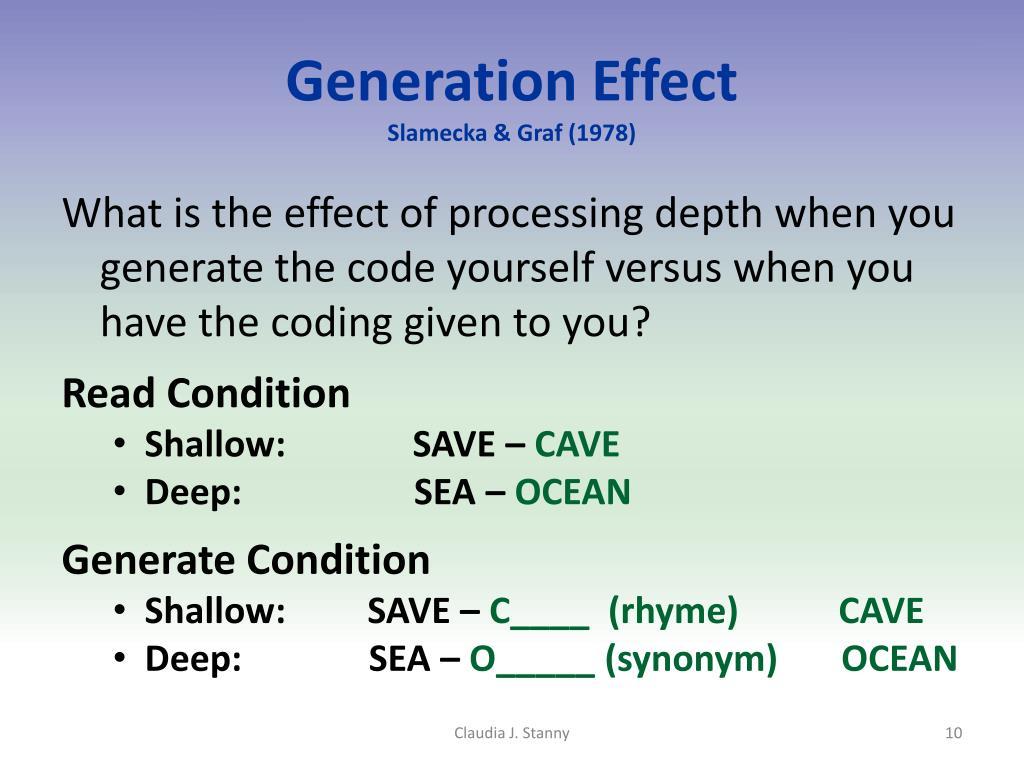 Generation Effect