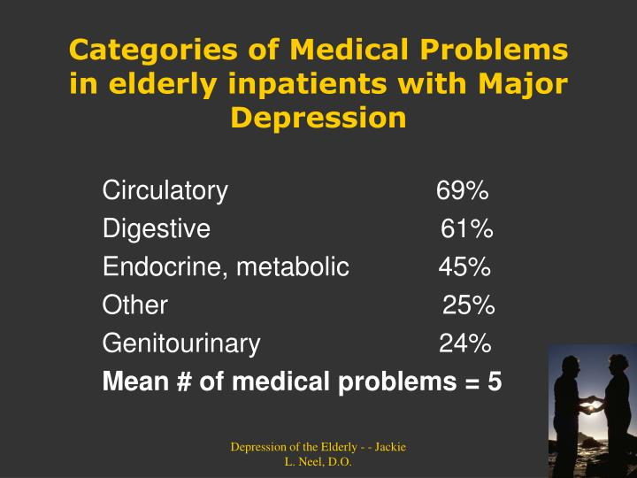 Categories of Medical Problems in elderly inpatients with Major Depression