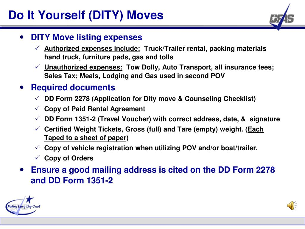 Do It Yourself (DITY) Moves