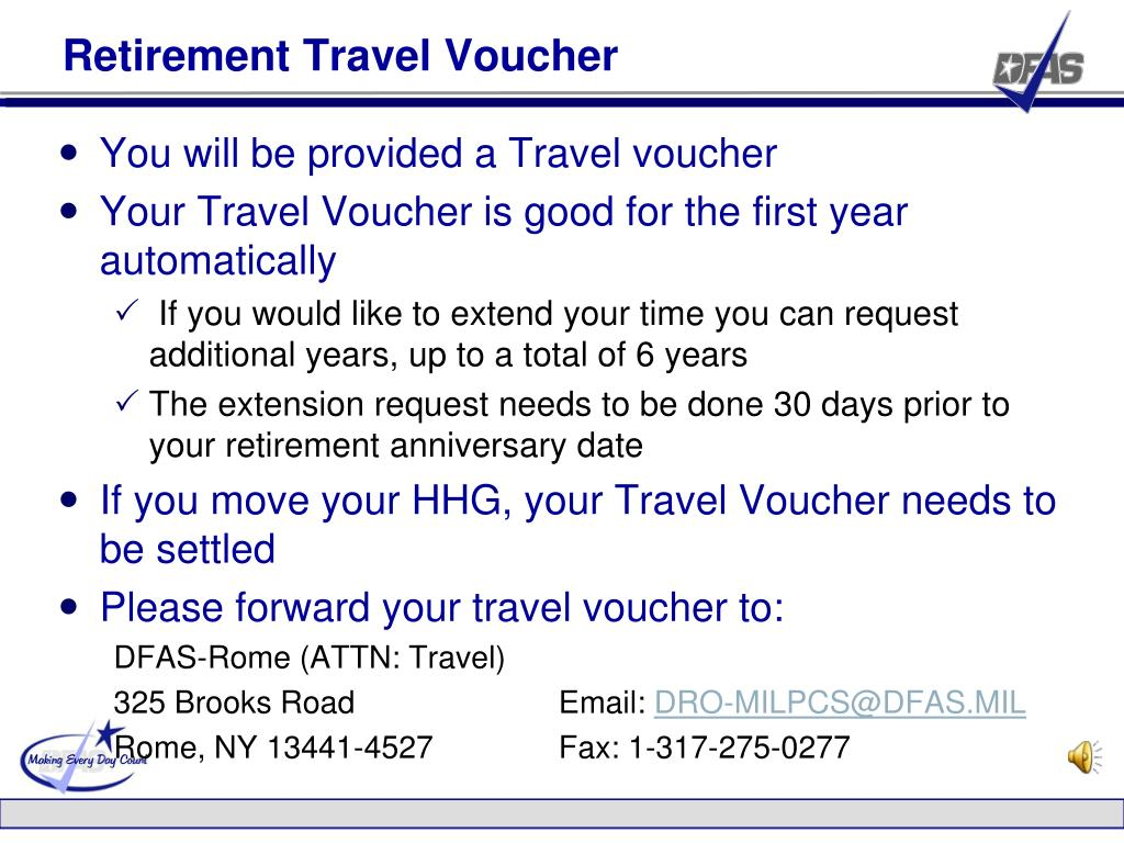 Retirement Travel Voucher