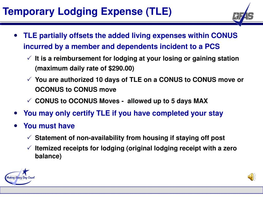 Temporary Lodging Expense (TLE)