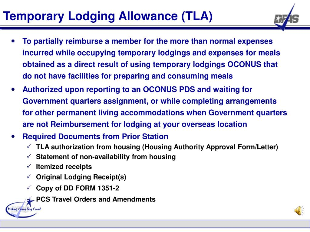 Temporary Lodging Allowance (TLA)