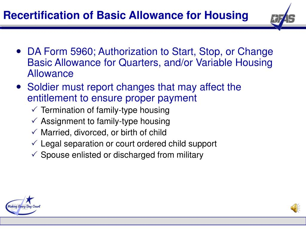 Recertification of Basic Allowance for Housing