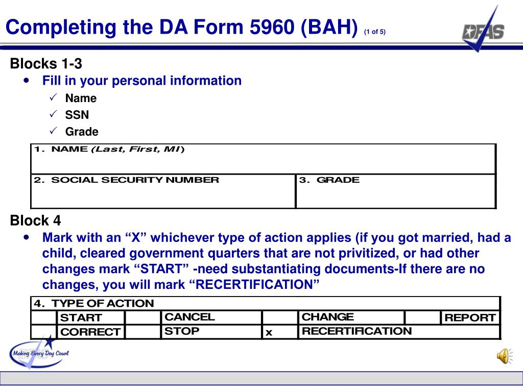 Completing the DA Form 5960 (BAH)