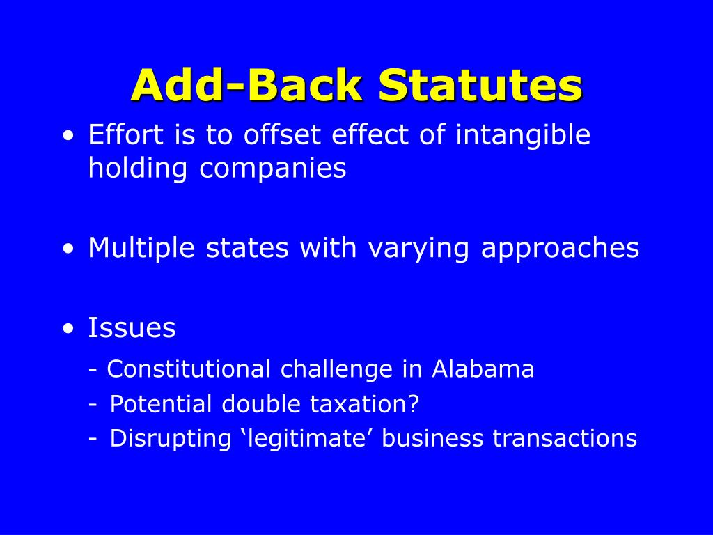 Add-Back Statutes