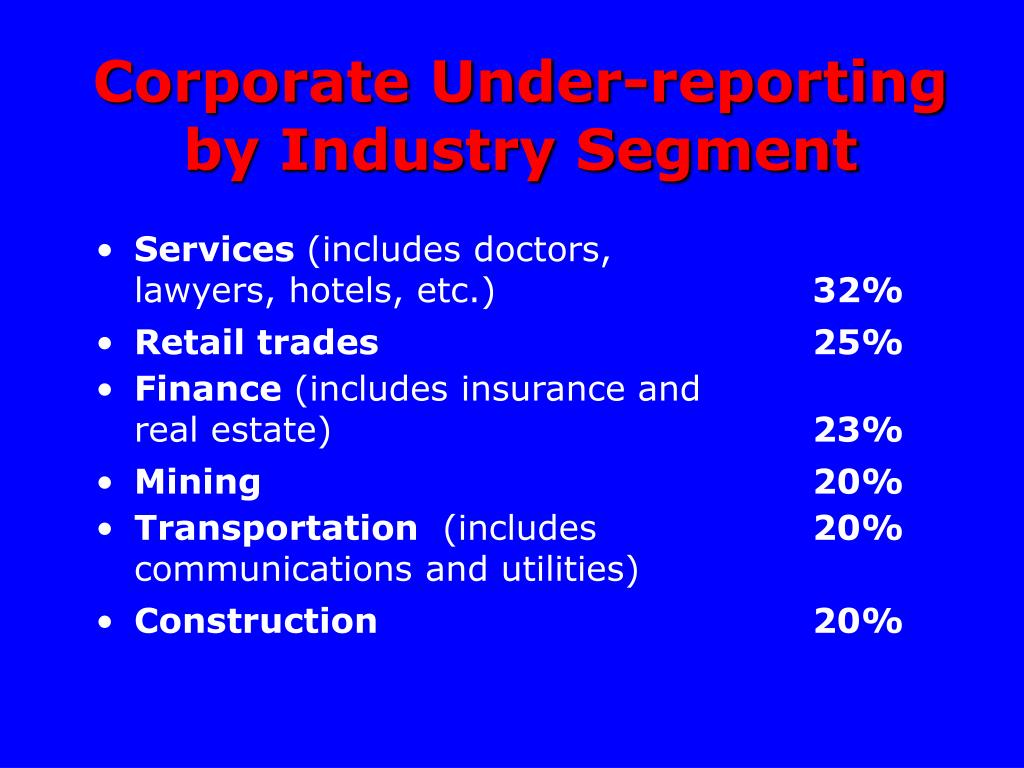 Corporate Under-reporting by Industry Segment