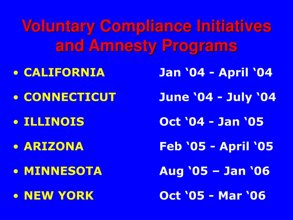 Voluntary Compliance Initiatives