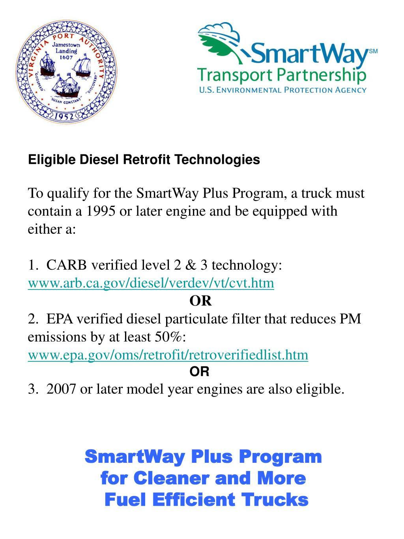 Eligible Diesel Retrofit Technologies