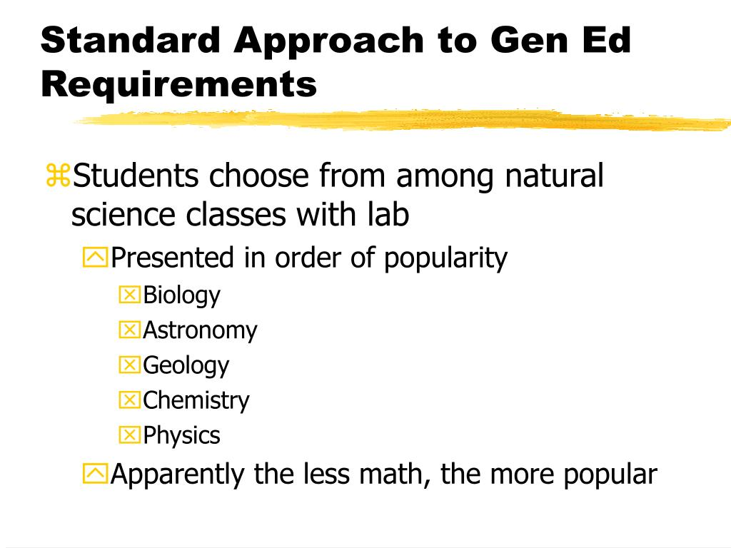 Standard Approach to Gen Ed Requirements