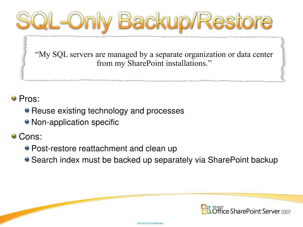 SQL-Only Backup/Restore