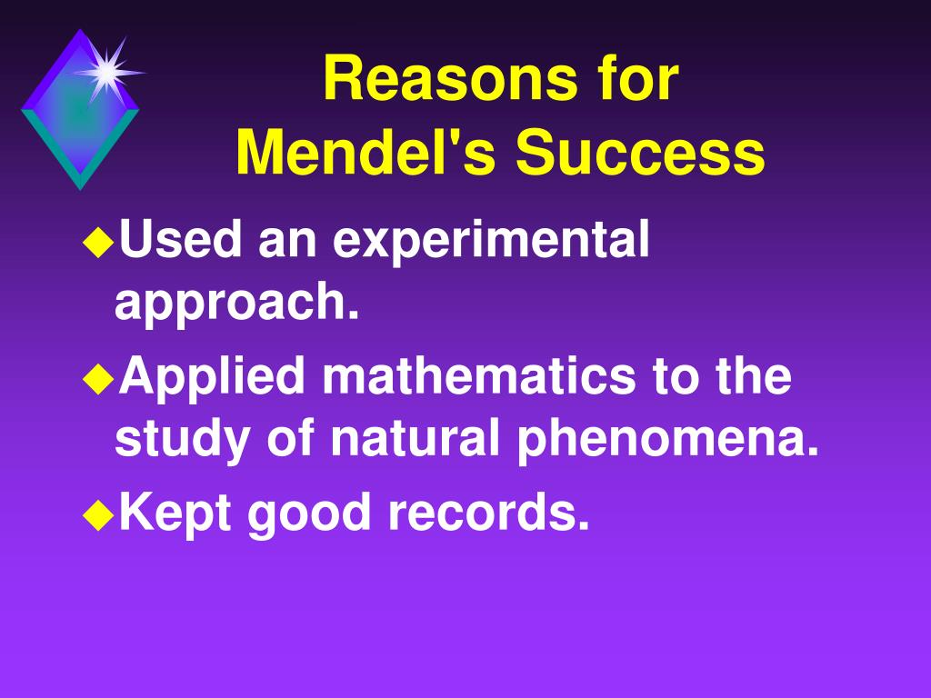 Reasons for     Mendel's Success