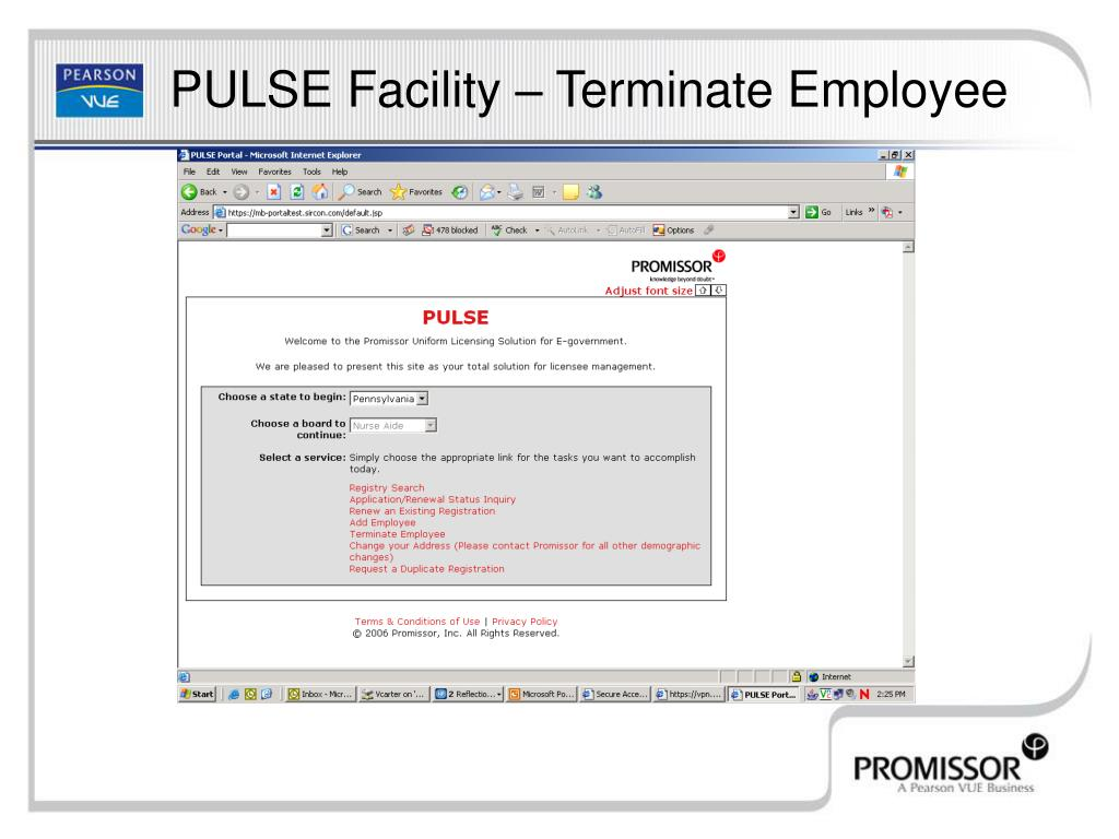 PULSE Facility – Terminate Employee