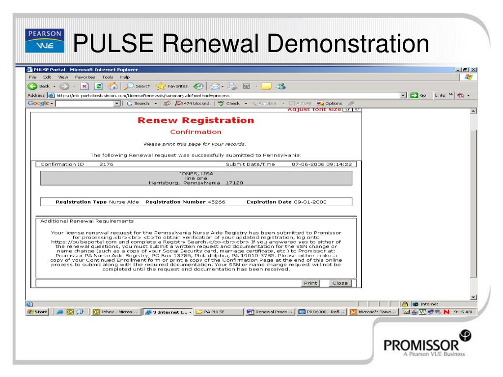PULSE Renewal Demonstration