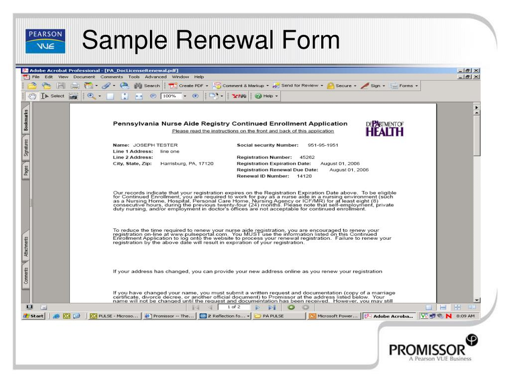 Sample Renewal Form