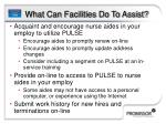 what can facilities do to assist