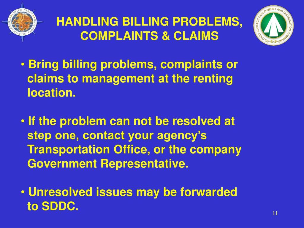HANDLING BILLING PROBLEMS, COMPLAINTS & CLAIMS