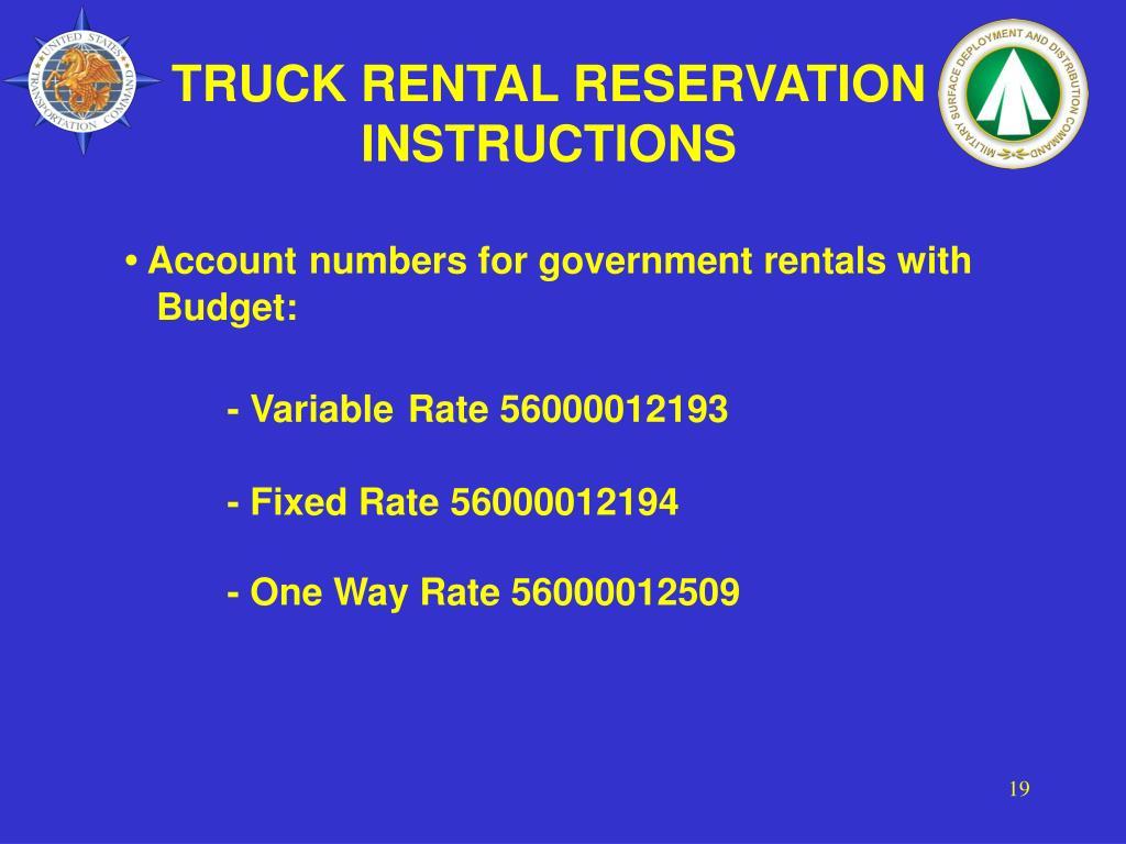 TRUCK RENTAL RESERVATION