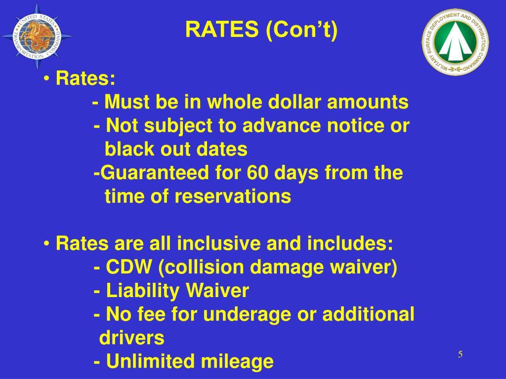 RATES (Con't)