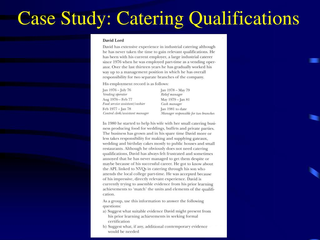 Case Study: Catering Qualifications