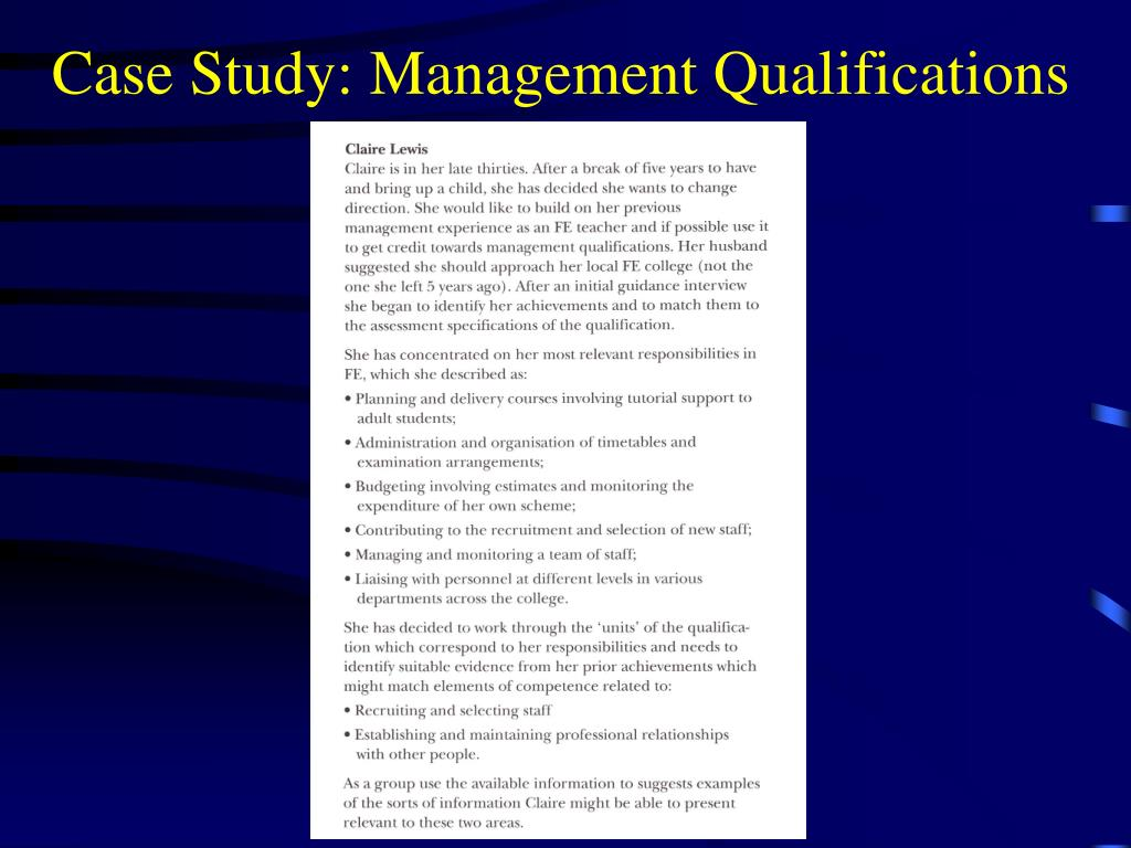 Case Study: Management Qualifications