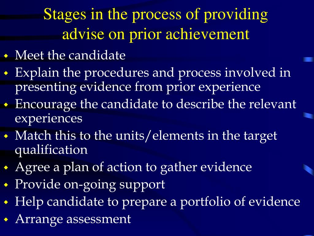 Stages in the process of providing