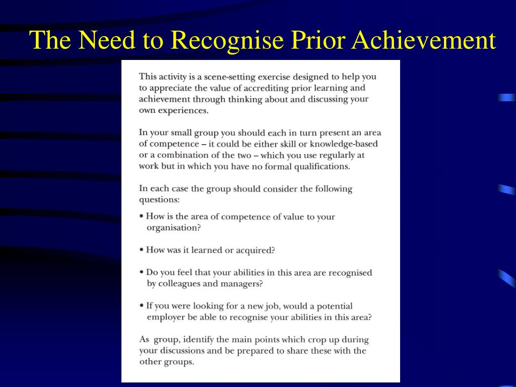 The Need to Recognise Prior Achievement