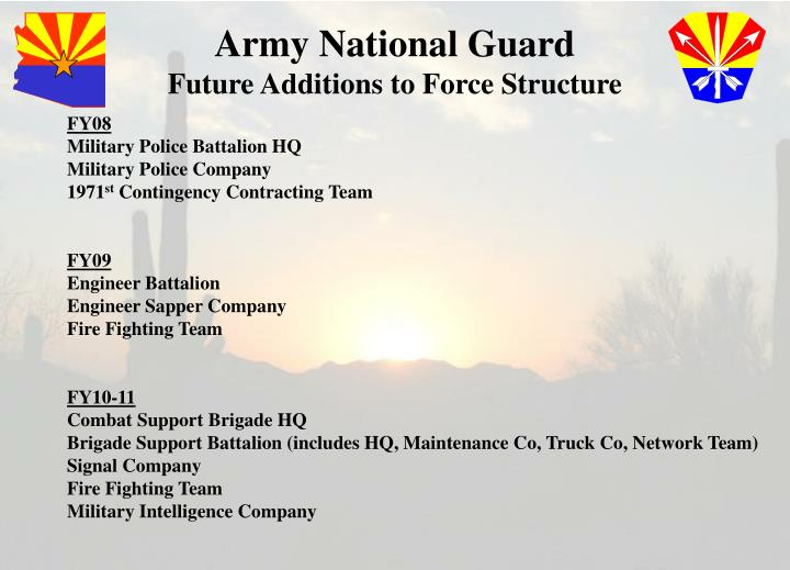 Army national guard future additions to force structure