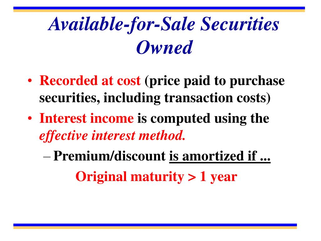 Available-for-Sale Securities Owned