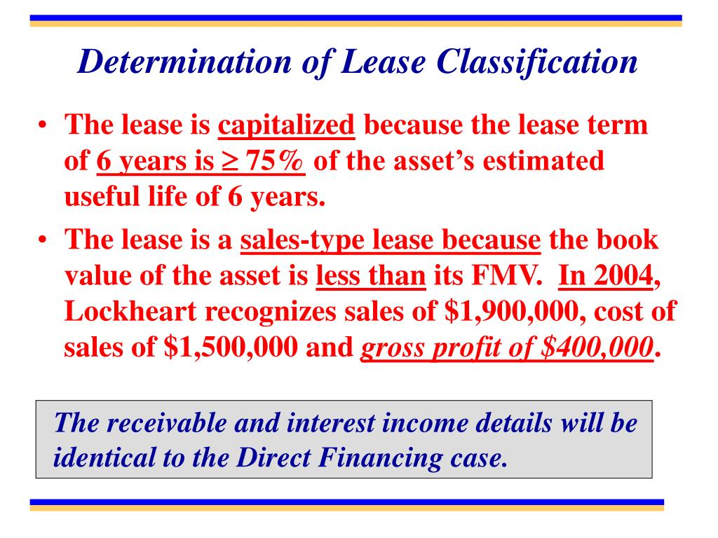 Determination of Lease Classification