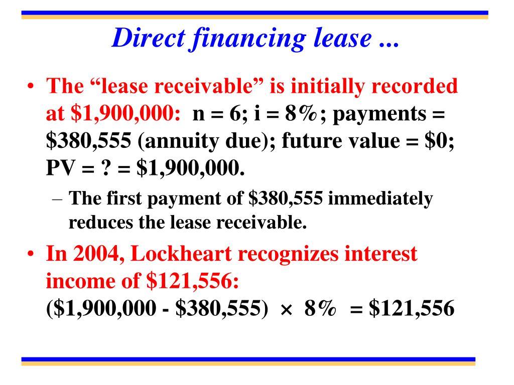 Direct financing lease ...