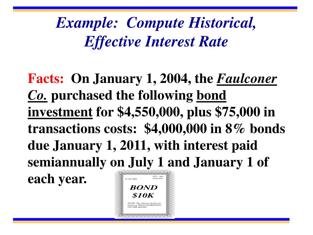 Example:  Compute Historical, Effective Interest Rate