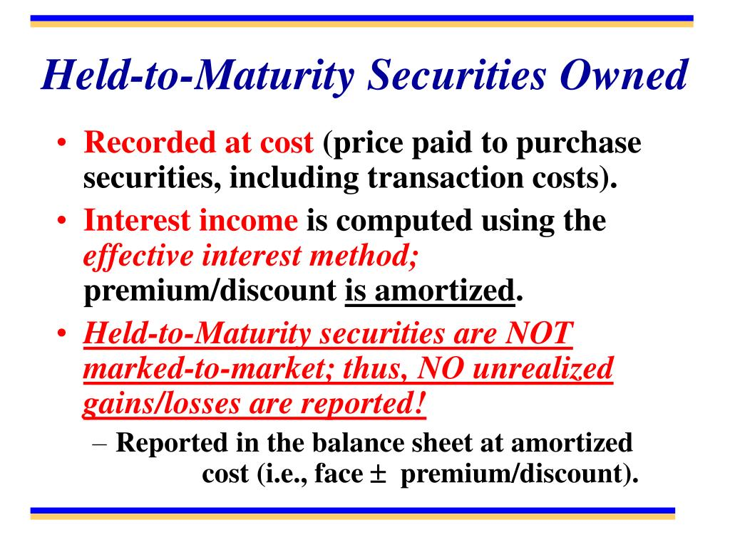 Held-to-Maturity Securities Owned