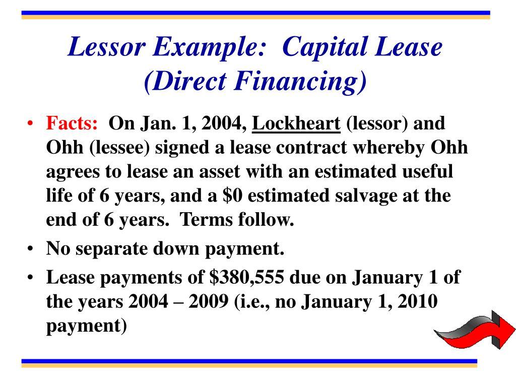 Lessor Example:  Capital Lease